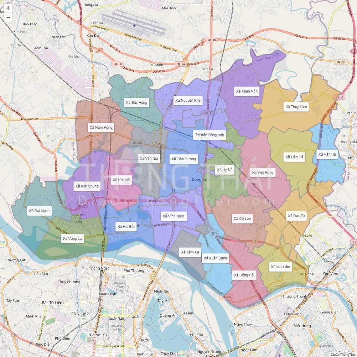 Bản đồ huyện Đông Anh - TP Hà Nội